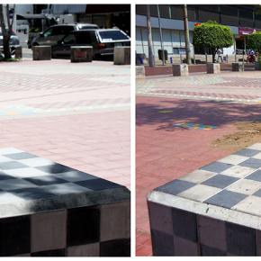 """""""Ta_patio"""", 4 bancas forradas de mosaico con tablero para jugar ajedrez, dos tableros con relieve para invidentes, Paseo Chapultepec, Alejandro Fournier, 2009-2011"""
