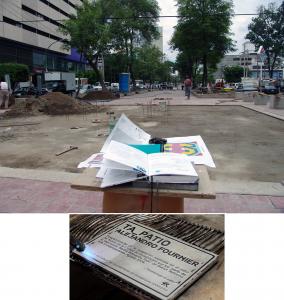 """""""Ta_patio"""", proceso de construcción, supervisión, detalle de placa ficha técnica de obra, Paseo Chapultepec, Alejandro Fournier, 2009-2011"""